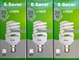 Pack of 3, E-Saver CFL Full Spiral, 20w = 100watt, Warm White 2700k, Compact Fluorescent Lamp, Bayonet Cap (BC, B22, B22d) 1150 Lumen, T2, 80%-85% Energy Saving Light Bulb, Flicker Free, 10,000 Hours Life Time