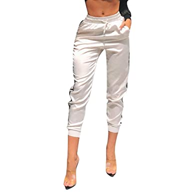 2d022e2d254f5 ... para Mujer Casual Cintura Alta Impresión de Rayas Pantalones de Suelto  Deportivo con cinturón Elástica señora Gusspower  Amazon.es  Ropa y  accesorios