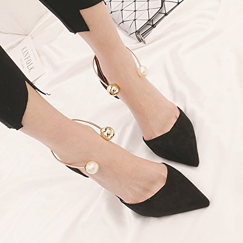Shoes Hollow With Light Black Girl Matt Wild 9Cm Single Pearl High Shoes KPHY The Thin Black Tip In Spring And Heeled nYgqxTH