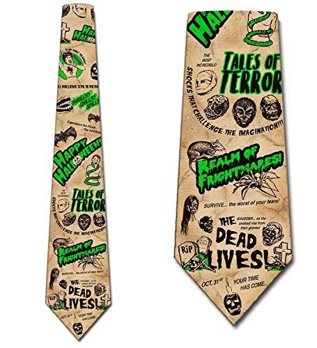Halloween Necktie - Halloween Ties Retro Vintage Mens Horror Movie Necktie by Three Rooker