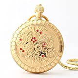 Zxcvlina Classic Smooth Exquisite Copper Retro Pocket Watch Golden Mechanical Pocket Watch with Chain for Woman Suitable for Gift Giving
