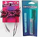 Bundle package 1 Party Girl Garter AND 1 Swiss Navy Toy & Body Cleaner Pen 7.5ml