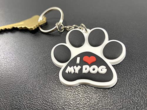 Amazon.com: I Love My Dog Paw Rescue Fur Baby Keychain Key ...