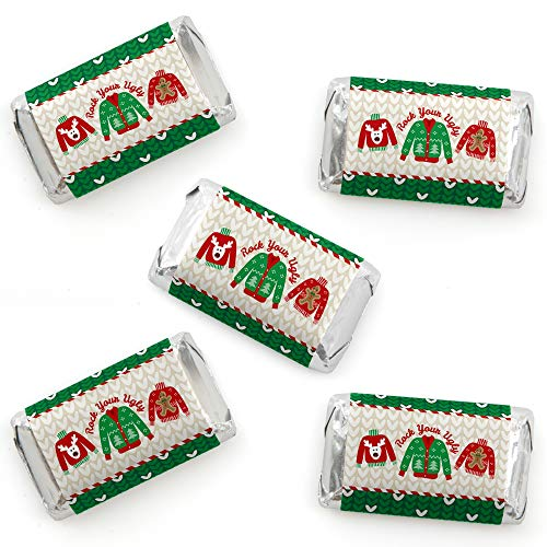 Big Dot of Happiness Ugly Sweater - Mini Candy Bar Wrapper Stickers - Holiday and Christmas Party Small Favors - 40 Count