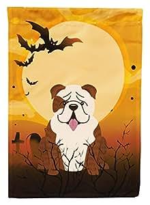 Caroline tesoros del bb4387chf Halloween Inglés Bulldog Brindle blanco lona casa bandera, grande, Multicolor