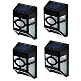 Outdoor Solar Wall Lights 4 - PACK, Warm White LED Light with Solar Powered Wall Mounted Night Lantern 7-Colar Changing Model for Party for Front Door, Back Yard, Landscape,Fence Lighting Decoration