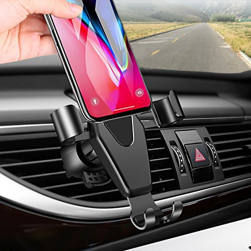 Car Phone Mount, TAKAGI Clip Gravity Cellphone Holder Mount Bracket Auto Lock Design Air Outlet Smarphones Mounts for iPhone X 8 7 6s Plus Samsung Note 8 Huawei Google LG HTC, Up to 6.2″ in
