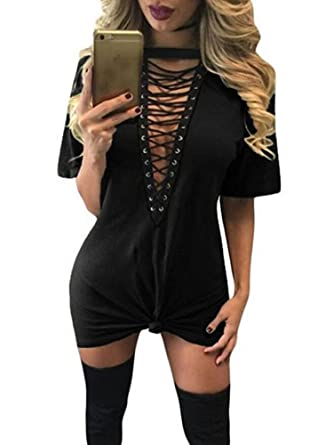 fc0c1361ea TOB Women s Sexy Halter Lace up Mini T Shirt Club Dress at Amazon ...
