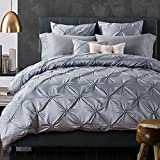 Romantic French Style Luxury Solid Color Duvet Cover Set with Folds as Holiday Gifts, Silky and Warm Sateen Cotton Hotel Quality Vintage Bedding Sets by LifeTB (Silver, King Size)