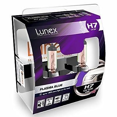 LUNEX H7 477 PLASMA BLUE Headlight Halogen Bulbs 12V 55W PX26d Xenon look 4200K duobox (2 units)