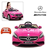Official Licensed Mercedes Benz Ride On Car with Remote Control for Kids | 12V Power Battery AMG S63 Kid Car to Drive with 2.4G Radio Parental Control Pink