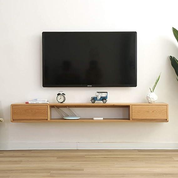 Estantería de pared de madera maciza Mueble TV de pared Con cajon Estante flotante Set top box Router de wifi Reproductor de DVD foto juguete estantes de almacenamiento Consola de TV Estante