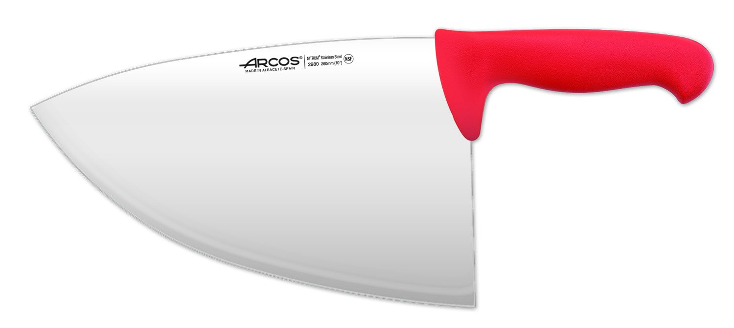 Arcos 10-Inch 260 mm 485 gm 2900 Range Cleaver, Red by ARCOS