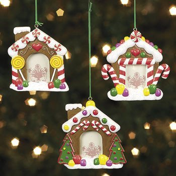 Fun Express Resin Gingerbread House Photo Frame Ornaments - 3 Pieces