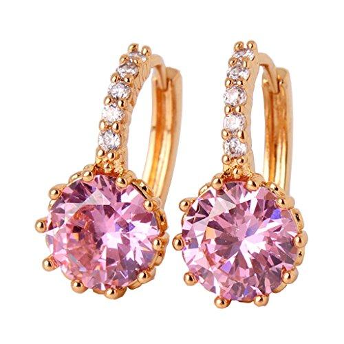 GUICX Gold Tone Round Created Pink Sapphire dashing captivating rhinestone leverback Earring Hoop