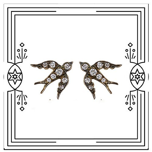 BLACKBIRD AND THE SNOW - BIRD STUD EARRINGS - 14K ANTIQUE PLATED WHITE GOLD, DIAMONDS (Earrings Antique Diamond Stud)