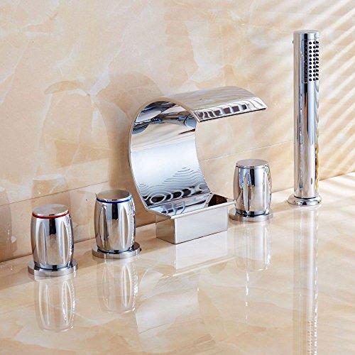 Gyps Faucet Basin Mixer Tap Waterfall Faucet Silver basin faucet bathtub and cold water faucet antique double-double-tap 5-Piece Faucet,Modern Bath Mixer Tap Bathroom Tub Lever Faucet