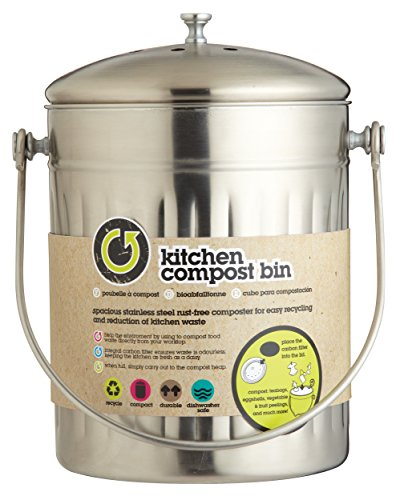 KitchenCraft High Capacity Small Kitchen Compost Bin, 5 Litres (1 Gallon)    Stainless Steel: Amazon.co.uk: Kitchen U0026 Home Nice Look