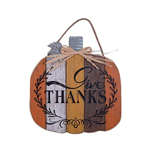 Give Thanks Plank Style Pumpkin Shape 15.5 x 14.5 Wood Harvest Hanging Wall Sign Plaque -