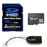 Zectron Smart Phone Series SDHC 32GB Micro Class 6 Memory Card for Samsung Star 3 DS + Free Micro USB card reader