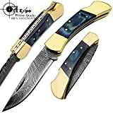F&f Expo Blue Wood Double Brass Bloster 7.5'' Custom Handmade Damascus Steel Folding Pocket Knife Back Lock
