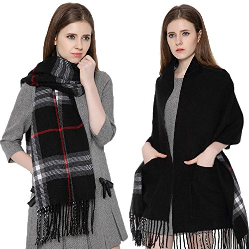 [Longwu Cashmere Feel Blanket Scarf Super Soft with Two Pocket and Tassel Warm Shawl for Women Black] (German Fancy Dress Ideas)