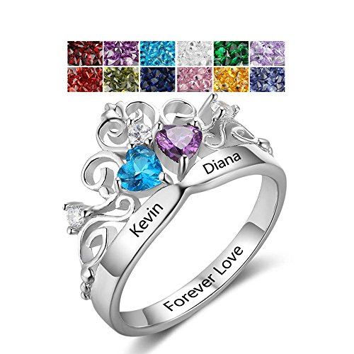 Personalized 925 Sterling Silver Crown Rings Couples 2 Birthstones Claddagh Name Rings Promise Engagement Rings For Her