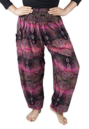 Lofbaz Mujer Harem Hippy Pantaloni cintura elástica bonzaai pantalones Oval Rosa