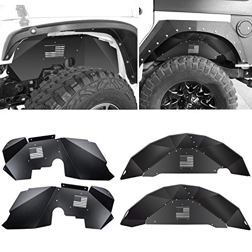 Sunluway Jeep Wrangler JK Front and Rear Inner Fender Liners for 2007-2018 JK JKU 4WD US Flag Logo Aluminum Lightweight Design Black Splash Guards