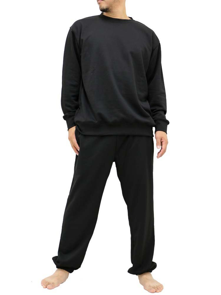 World Smack Basic Men's Crew Neck Sweatsuits Sweatshirts and Sweatpants Set Tracksuit Big and Tall (Black, 3L)