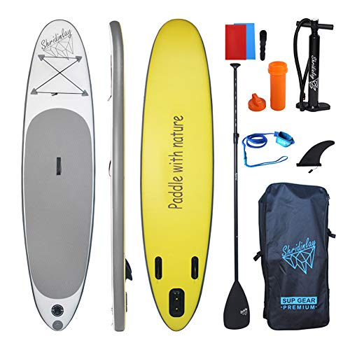 Shridinlay Inflatable Stand up Paddle Board, 4.7 inch Thick Non-Slip Deck with Free Premium SUP Accessories & Backpack for Beginner and Professional (Gray)