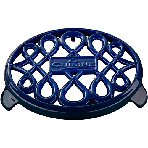 La Cuisine 7 In Enameled Cast Iron Round Trivet, (Blue Cast Iron Trivet)
