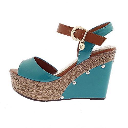 Voguezone009 Platform Con Tacco Pu Womens Alto Sandali Assortiti Verniciata Toe Wedge Pelle Fibbia Colori Blu Open rqXrgOwx