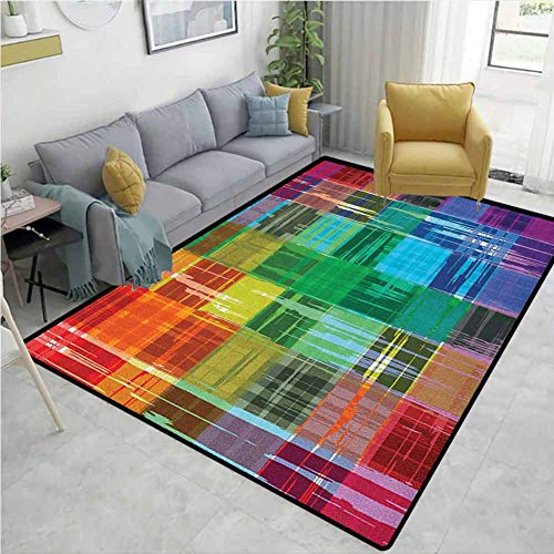 Large Area Rug Vintage Rainbow Plaid Art Pattern with Abstract Colorful Squares and Paint Smears Design Bedroom Rug Multicolor