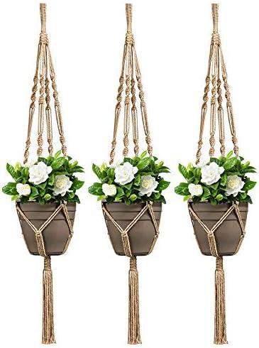 Koitoy Makramee Pflanzenaufhänger 105 cm Jute Wandaufhängung Blumentopf Seil Blumentopf Halter für Innen- und Außenbereich Heimdekoration