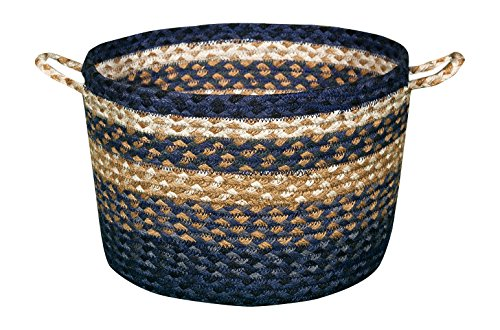 Earth Rugs 38-UBMN079 Light and Dark Blue/Mustard Mini Utility Basket
