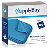 SupplyBuy Lightweight Microfiber Towels | Lint-Free, Streak-Free, Glass-Cleaning Cloths | Pack of 300 - 16x18 (16'' x 18'')