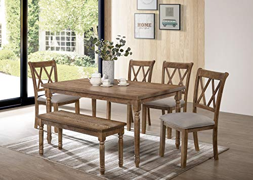 Best Master Furniture Paige 6 Pcs Dining Set with Bench, Natural