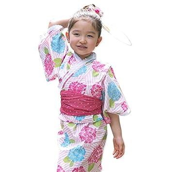 f1d26cc0c3896 浴衣 子供 セット キッズ ベビー ドレス サンドレス セパレート 花柄 帯セット Pinky Flash アジサイ