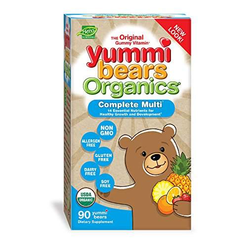 Yummi Bears Organics Gummy Vitamins, Multi-Vitamin for Kids 90 Gummy Bears