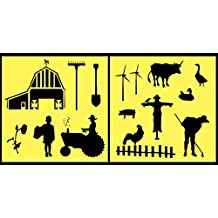 Auto Vynamics - STENCIL-FARMSET01-10 - Detailed Farm & Farming Life Stencil Set - Includes Tractor, Barn, Multiple Animals & Farmers! - 10-by-10-inch Sheet - (2) Piece Kit - Pair of Sheets