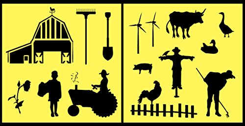 Auto Vynamics - STENCIL-FARMSET01-10 - Detailed Farm & Farming Life Stencil Set - Includes Tractor, Barn, Multiple Animals & Farmers! - 10-by-10-inch Sheet - (2) Piece Kit - Pair of Sheets (Best Chicken Science Fair Project)