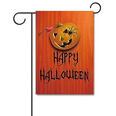 "KafePross Axe and Black Spider Are Killing Jack-O-Lantern Decorative Halloween Garden Flag 12.5""x18"""