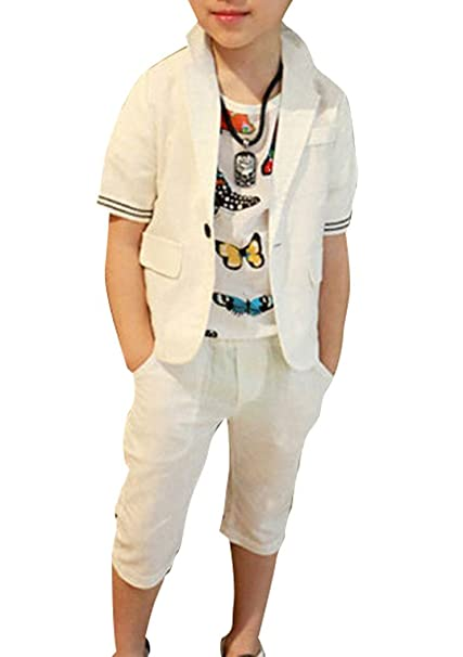 b282db20b68 ZhaoKai Boys Summer White Linen Suits 2 Pieces Short Sleeve Jacket and Shorts  Set (4T