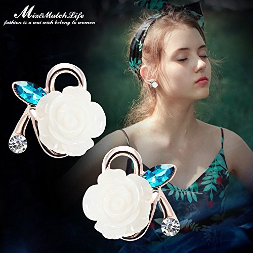 Jasmine Cuff (Nordic pastoral style flower earrings ear jewelry a short section Department Mori small fresh jasmine earrings earrings women girls elegant)