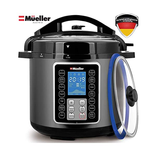 Mueller 6 Quart Pressure Cooker 10 in 1, Cook 2 Dishes at Once, Tempered Glass Lid incl, Saute, Slow Cooker, Rice Cooker, Yogurt Maker and Much More 1