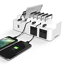 ChargeTech - CS6 WHITE Cell Phone & Laptop Dock Charging Station w/ 6 Universal Charging Tips Included for All Devices: iPhone, iPad, Samsung Galaxy, Note Tab, Nexus, HTC, Motorola, Nokia, GoPro
