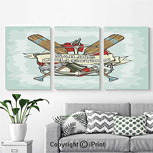 Canvas Prints Modern Art Framed Wall Mural Sailing Collection Yacht Club Bell Antiques Historical Items Long Glass Life Saver for Home Decor 3 Panels,Wall Decorations for Living Room Bedroom Dining ()
