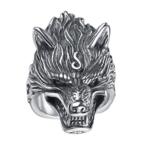 LineAve Men's Stainless Steel Wolf Biker Ring, Size 10, 8h5057s10 by LineAve (Image #3)