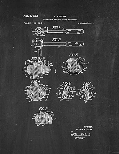 Reversible Ratchet Wrench Mechanism Patent Print Chalkboard (13